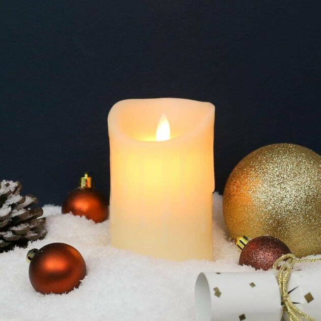 13cm Cream Battery Melted Wax Dancing Flame LED Candle