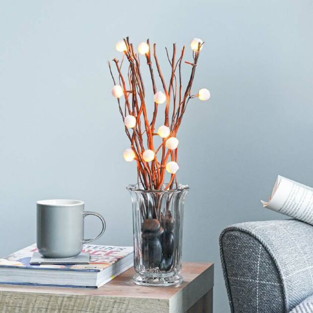 Battery Decorative Brown Branch Twig Lights with Pom Poms, 40cm