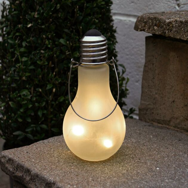 Outdoor Battery Frosted Glass Festoon Bulb Lantern