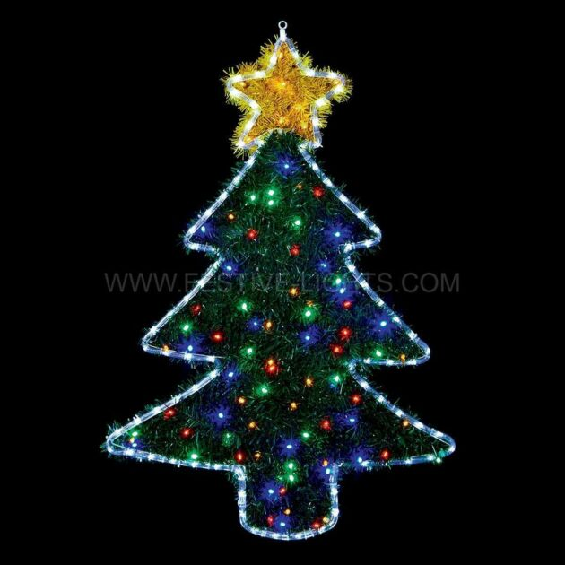 1m Outdoor Christmas Tree Tinsel Silhouette, 186 Multi Colour LEDs