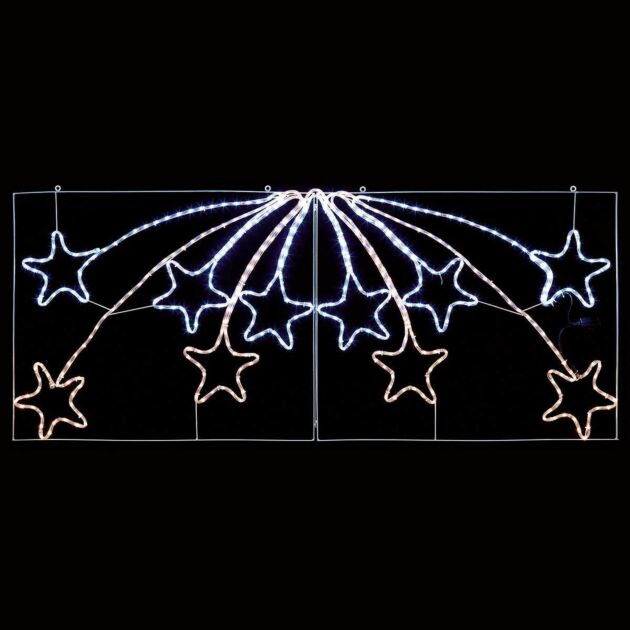 2.2m Outdoor Shooting Star Christmas Motif, 480 White and Warm White LEDs