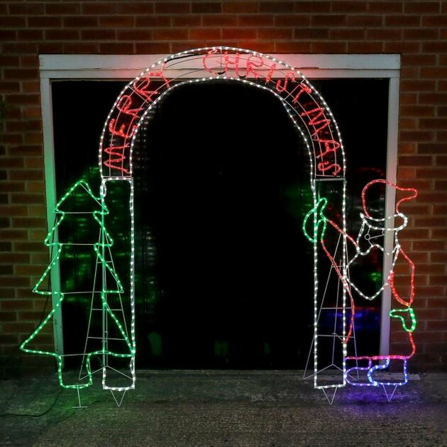 2.6m Outdoor Christmas Santa Tree Archway Silhouette, 600 Multi Colour LEDs