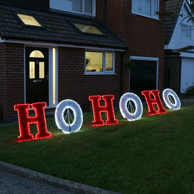 3m Outdoor HOHOHO Christmas Tinsel Silhouette, Red and White LEDs
