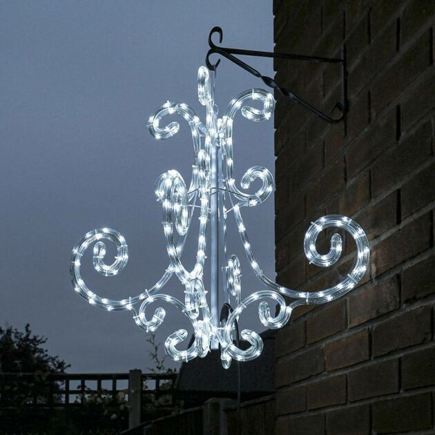 60cm Outdoor Chandelier Christmas Decoration, White Twinkling LEDs