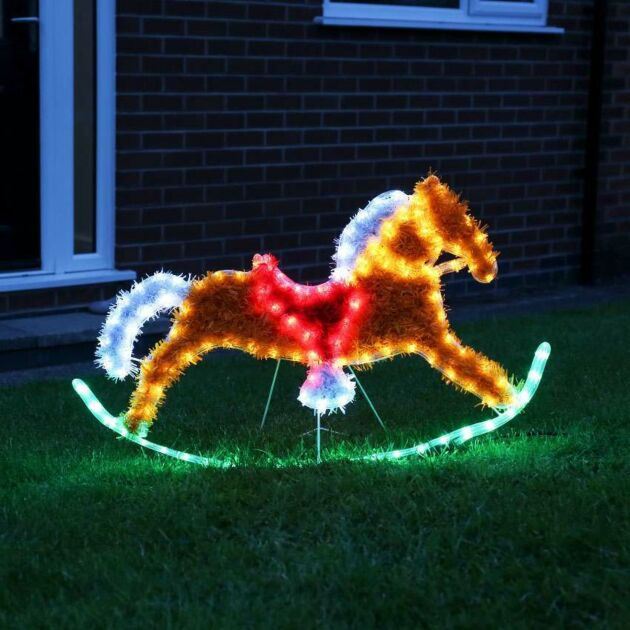 91cm Outdoor Rocking Horse Tinsel Christmas Silhouette, 144 Multi Colour LEDs