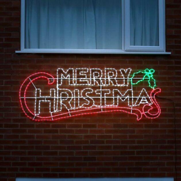 2m Outdoor Merry Christmas Motif 600 LEDs