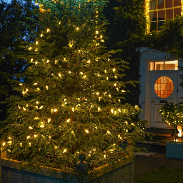 12m Outdoor C6 Christmas String Lights, Warm White LEDs
