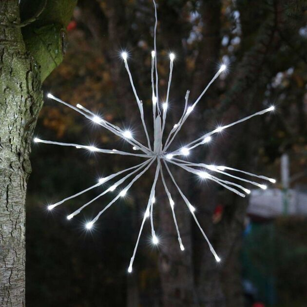45cm Outdoor Starburst Christmas Light, White with White Twinkle LEDs