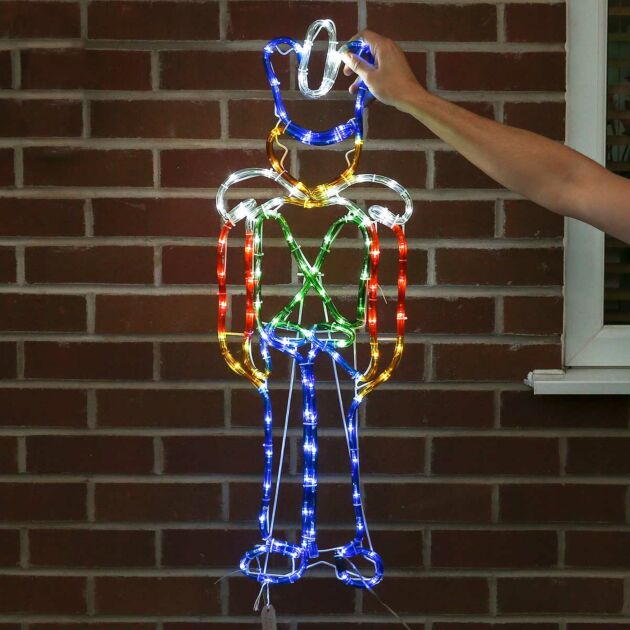 90cm LED Nutcracker Christmas Silhouette, 120 Multi Colour LEDs