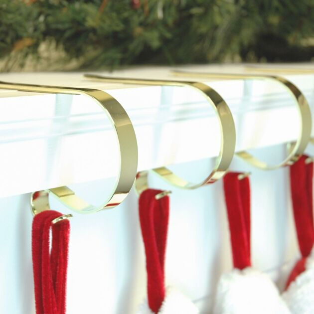 Brass Mantle Piece Christmas Stocking Clips, 4 pack