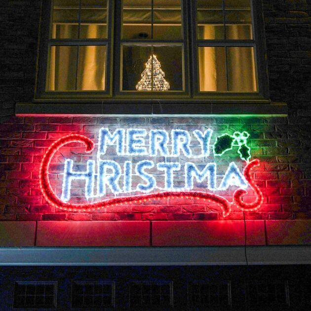2m Outdoor Merry Christmas Tinsel Silhouette, 600 Multi Colour LEDs