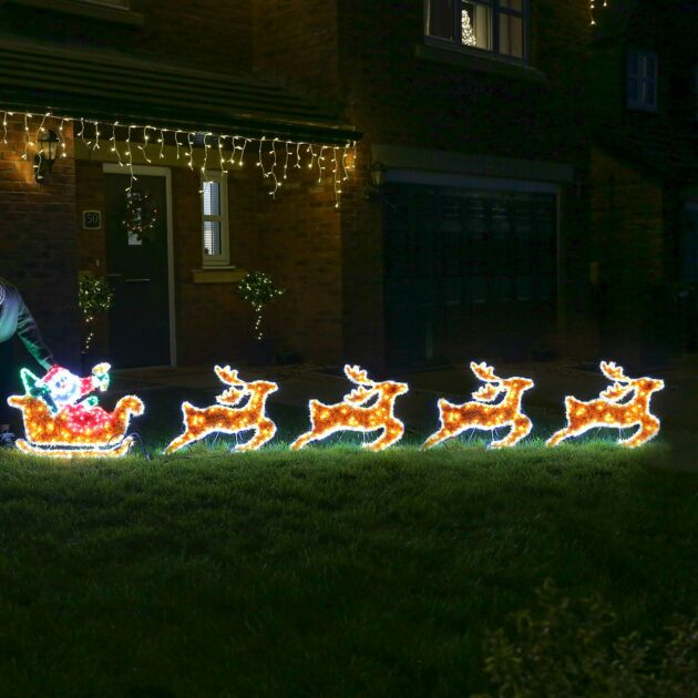 3.8m Outdoor Santa on Sleigh Tinsel Christmas Silhouette, 576 Multi Colour LEDs