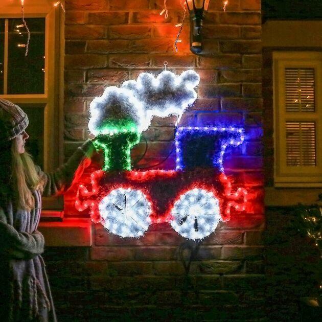 90m Outdoor Train Tinsel Christmas Silhouette, 252 Multi Colour LEDs