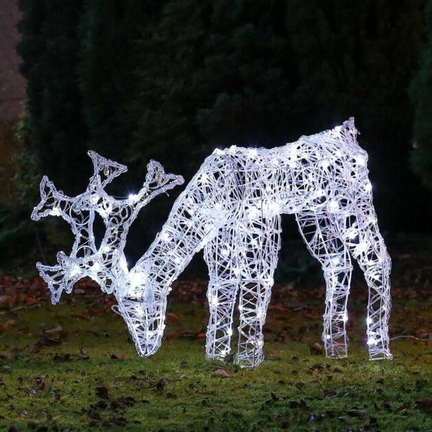 80cm Outdoor Acrylic Grazing Reindeer Figure, White LEDs