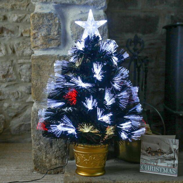 2ft Fibre Optic Christmas, White and Multi Coloured LEDs