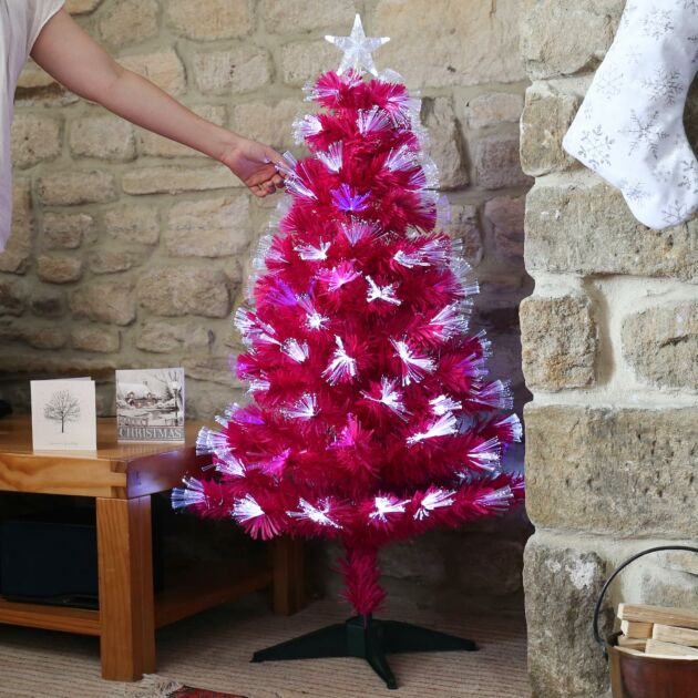 Pink Fibre Optic Christmas Tree, White, Red and Blue LEDs