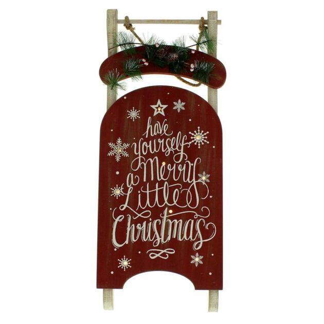 Battery 'Merry Christmas' Light Up Sledge Decoration