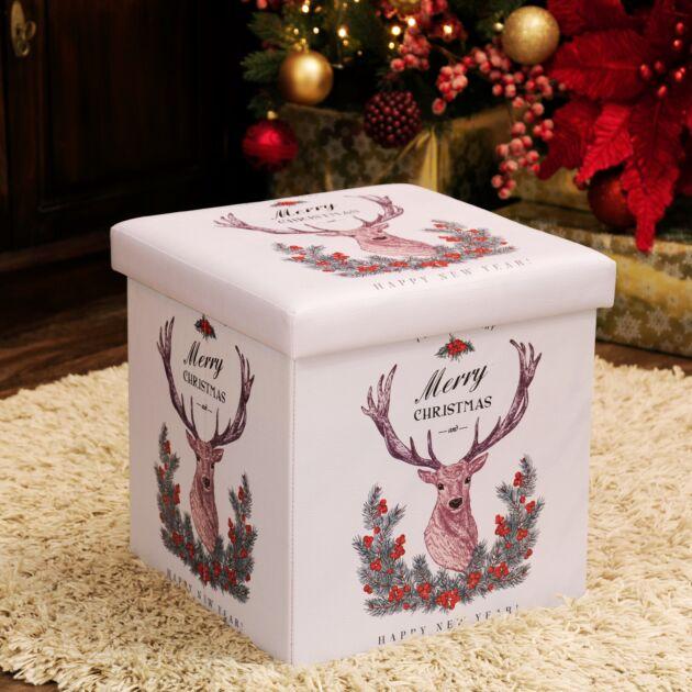 38cm v 38cm Foldable Reindeer Christmas Storage Box