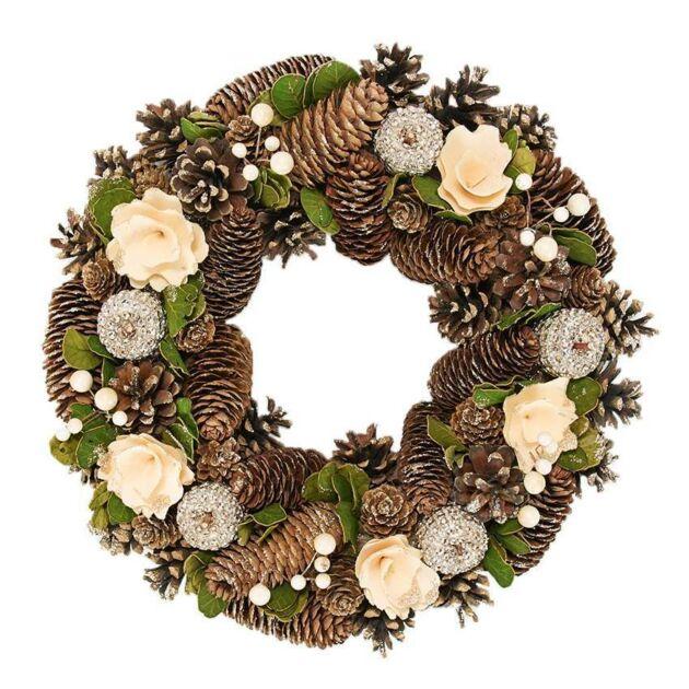 36cm Cream and Gold Decoration Chrismtas Wreath