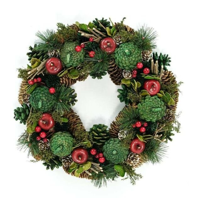 36cm Red Berry and Apple Christmas Wreath