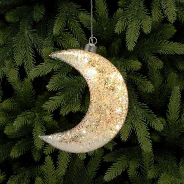 17cm Battery Glass LED Glittered Moon Christmas Hanging Light