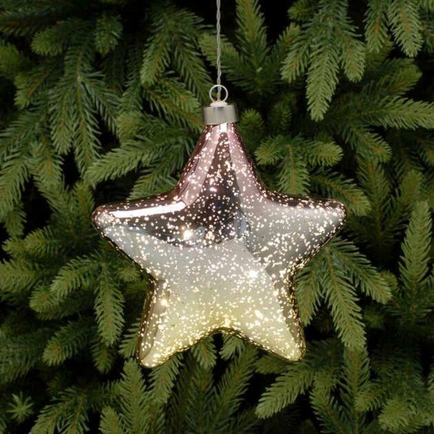 18cm Gold Battery Glass LED Star Christmas Hanging Light