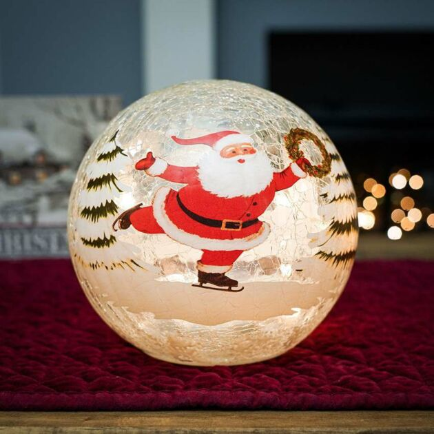 15cm Battery Tabletop Crackle Effect Santa Ball