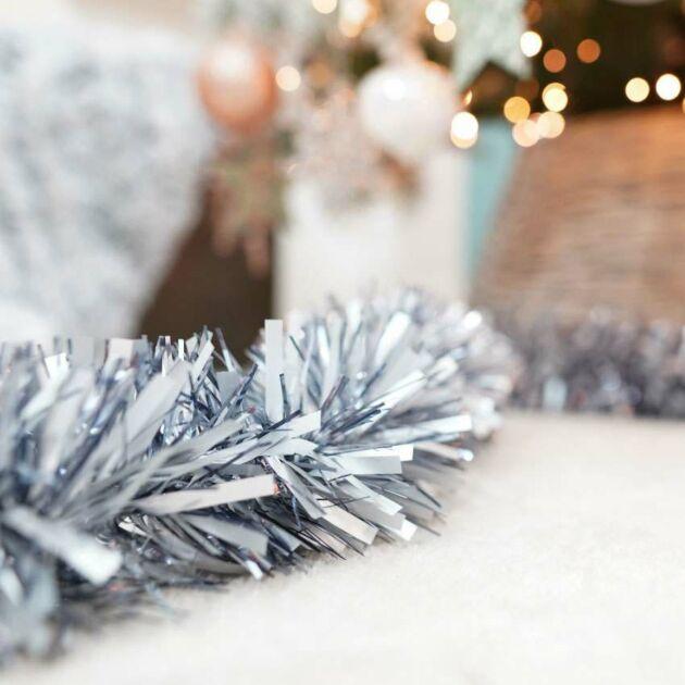 2m Silver Tinsel Christmas Tree Decoration