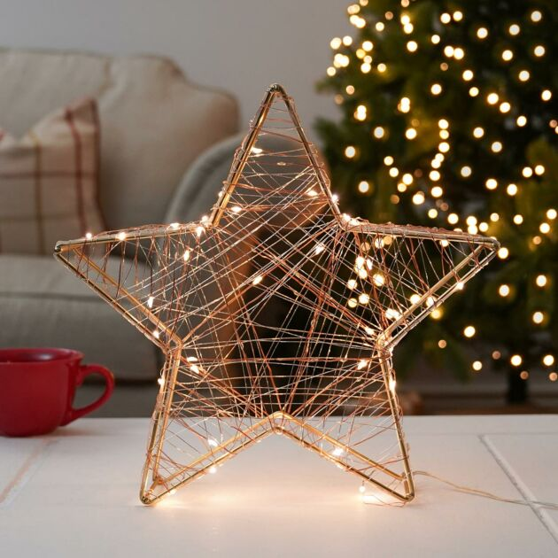 32cm Battery Gold Star LED Christmas Table Decoration