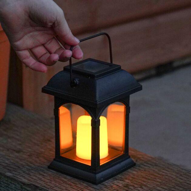 Solar Powered Flickering LED Candle Lantern, 15cm