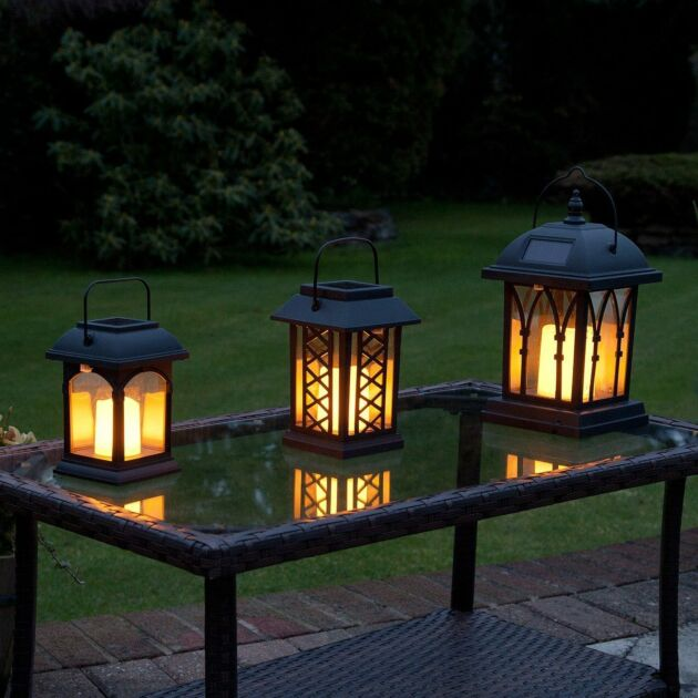 Solar Garden Flickering Candle Lantern, Amber LED, 3 Pack