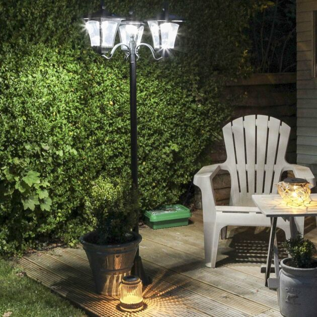 Large Black Triple Head Solar Security Lamp Post, 2.1m