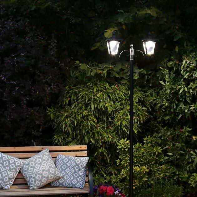 Large Black Twin Head Solar Security Lamp Post, 2.1m