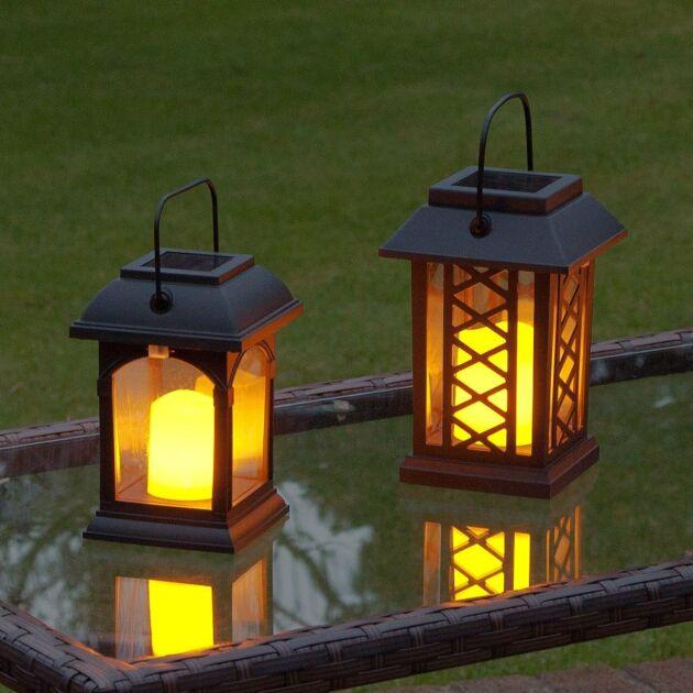 Solar Flickering Candle Lantern, Amber LED, 2 Pack