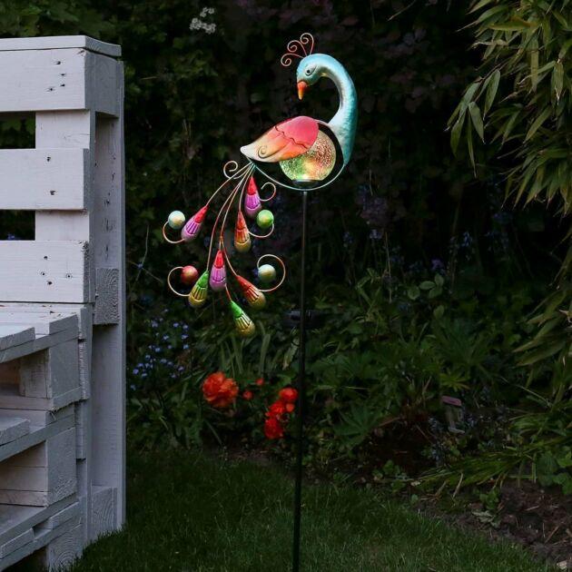 Solar Garden Peacock Stake Light, 80cm
