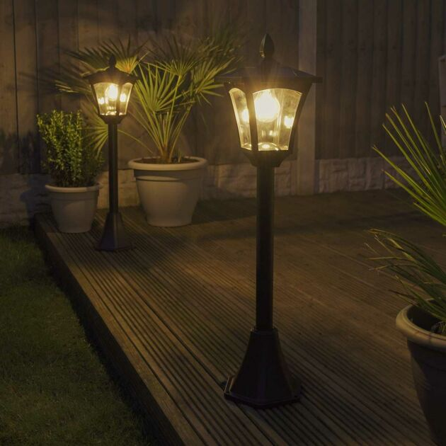 Solar Filament Effect LED Security Lamp Post, 1.2m, 2 Pack