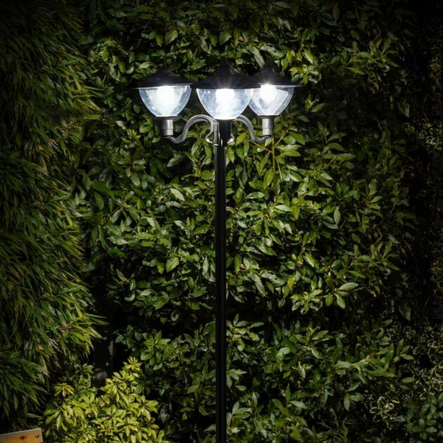 Solar Dome Triple Head Security Lamp Post, 2.1m
