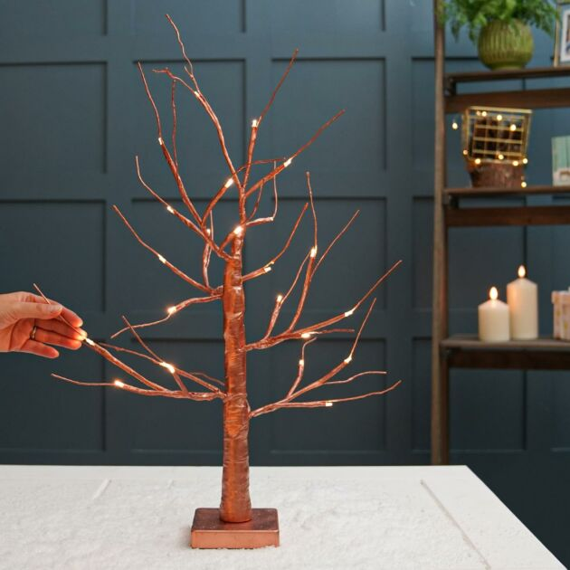 Battery Copper Twig Tree, Warm White LEDs, 2ft