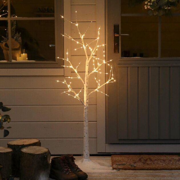 4ft Outdoor Birch Twig Tree, 120 Warm White LEDs