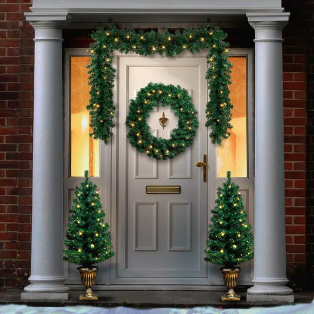 Outdoor Battery Pre-Lit Christmas Garland, Wreath and 2 Potted Trees Bundle
