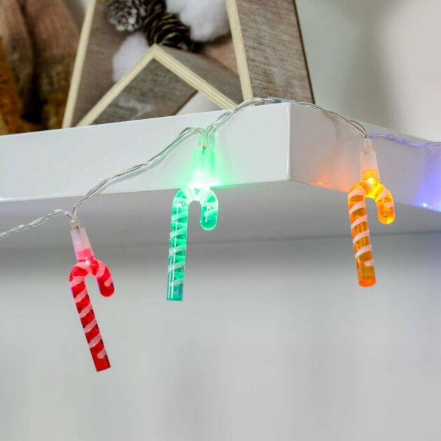 2m Battery Multi Colour Christmas Candy Cane Fairy Lights