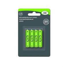 Solar Rechargeable Batteries, AAA, 600 mAh, 4 Pack