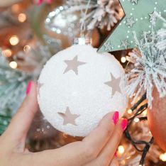 8cm White Snow with Stars Glass Christmas Tree Bauble