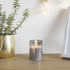 Grey Battery Wax Authentic Flame Candle in Smoked Glass Cylinder, 10cm