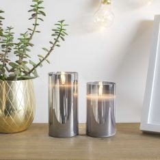 Grey Battery Wax Authentic Flame Candle in Smoked Glass Cylinder, 2 Pack