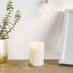 Ivory Battery Real Dripping Wax Authentic Flame LED Candle, 12.5cm
