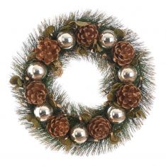 36cm Silver Baubles and Pinecone Christmas Wreath