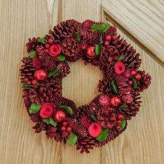 36cm Red Pinecone Christmas Wreath