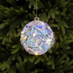 15cm Battery Rainbow Diamond Cut Glass Christmas Tree LED Bauble