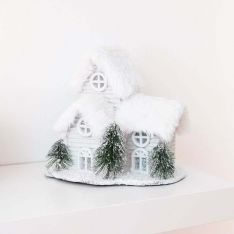19.5cm Silver & White Battery Tabletop Lodge Village Scene